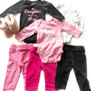Like New Baby Place Outfit Booties Bundle 0-3 m